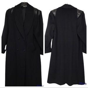 Vintage 80's Wool Leather Black Long Coat Jofeld Forstmann Goth Art Excellent